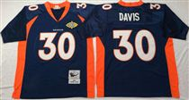 Denver Broncos #30 Terrell Davis Blue Super Bowl Stitched Mitchell and Ness Jersey