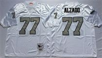 Oakland Raiders #77 Lyle Alzado White With Gray Number Stitched Mitchell and Ness Jersey