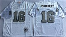 Oakland Raiders #16 Jim Plunkett White With Gray Number Stitched Mitchell and Ness Jersey