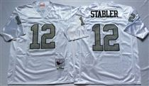 Oakland Raiders #12 Ken Stabler White With Gray Number Stitched Mitchell and Ness Jersey