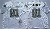 Oakland Raiders #81 Tim Brown White With Gray Number Stitched Mitchell and Ness Jersey