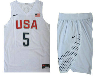 Sticthed 2016 Olympics Team USA Men's #5 Kevin Durant Revolution 30 Swingman White Jersey With Shorts