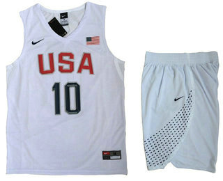 Stitched 2016 Olympics Team USA Men's #10 Kyrie Irving Revolution 30 Swingman White Jersey Shorts