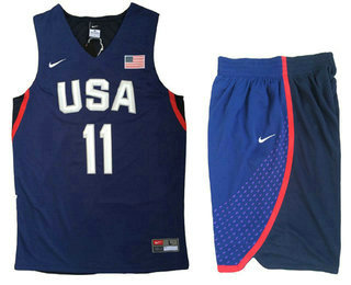 Stitched 2016 Olympics Team USA Men's #11 Klay Thompson Navy Blue Revolution 30 Swingman Basketball Jersey With Shorts