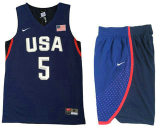 Sticthed 2016 Olympics Team USA Men's #5 Kevin Durant Revolution 30 Swingman Navy Blue Jersey With Shorts