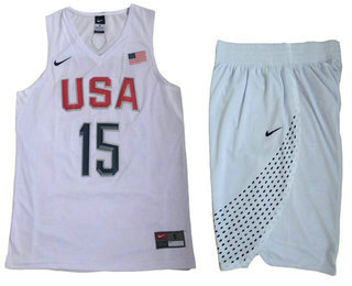 Stitched 2016 Olympics Team USA Men's #15 Carmelo Anthony White Revolution 30 Swingman Basketball Jersey With Shorts
