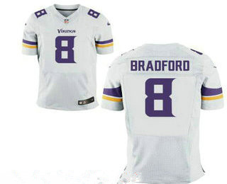 Stitched Minnesota Vikings #8 Sam Bradford White Nike NFL Elite Jersey