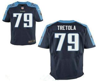 Stitched Tennessee Titans #79 Sebastian Tretola Dark Blue Nike NFL Elite Jersey