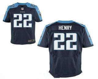 Stitched Tennessee Titans #22 Derrick Henry Dark Blue Nike NFL Elite Jersey
