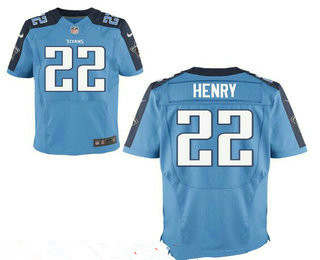 Stitched Tennessee Titans #22 Derrick Henry Light Blue Nike NFL Elite Jersey