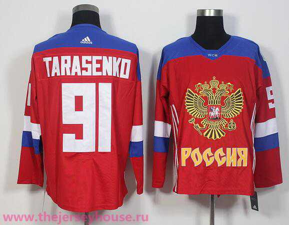 Team Russia #91 Vladimir Tarasenko Red 2016 World Cup Of Hockey adidas WCH Game Jersey