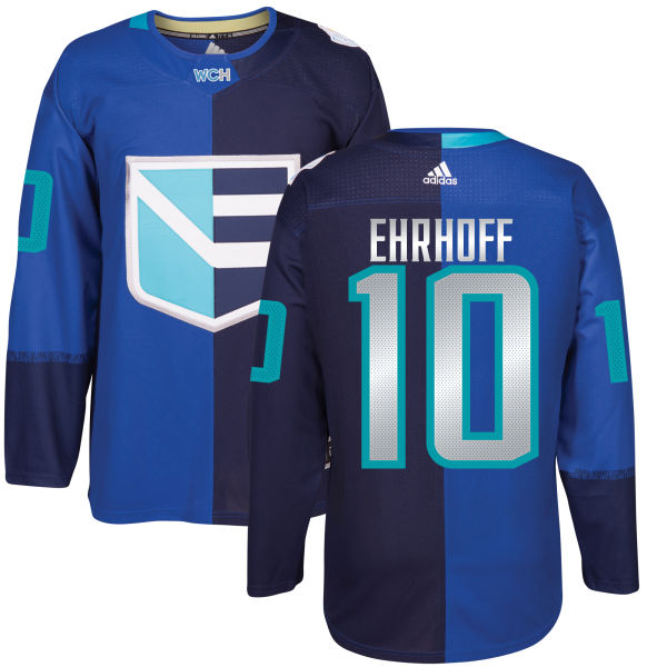 Men's Europe Hockey #10 Christian EHRHOFF Adidas Royal World Cup Of Hockey 2016 Premier Player Jersey