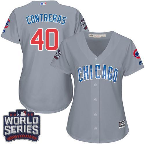 Cubs #40 Willson Contreras Grey Road 2016 World Series Bound Women's Stitched MLB Jersey