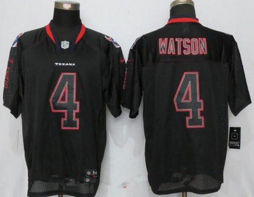 Nike Men's 2017 NFL Draft Houston Texans #4 Deshaun Watson Lights Out Black Stitched NFL Elite Jersey