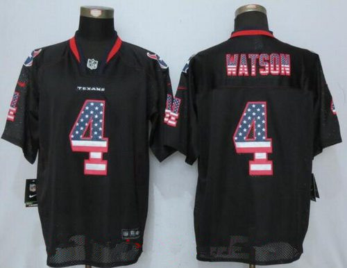 Nike Men's 2017 NFL Draft Houston Texans #4 Deshaun Watson Black USA Flag Fashion Stitched NFL Elite Jersey