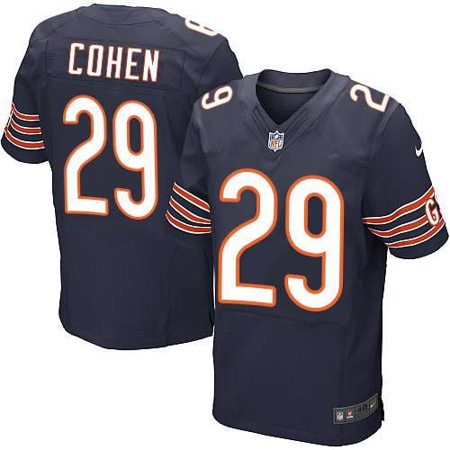 Nike Men's Chicago Bears #29 Tarik Cohen Navy Blue Team Color Stitched NFL Elite Jersey