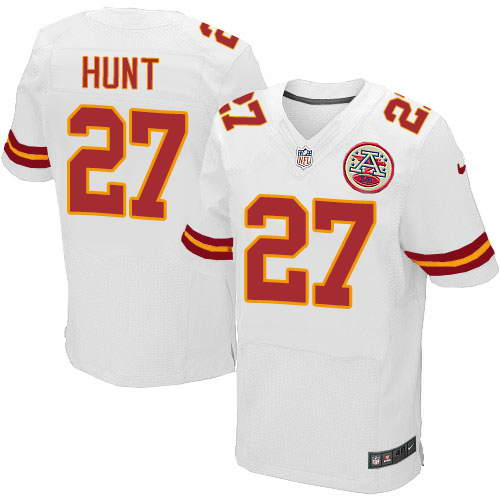 Nike Men's Kansas City Chiefs #27 Kareem Hunt White Stitched NFL Elite Jersey