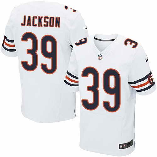 Nike Chicago Bears Men's #39 Eddie Jackson Elite Stitched White Road NFL Jersey