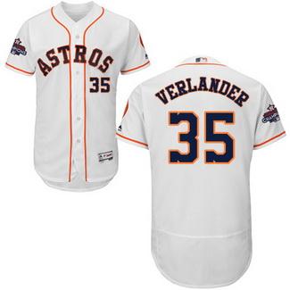 Men's Houston Astros #35 Justin Verlander White 2017 World Series Champions Stitched Flexbase Jersey