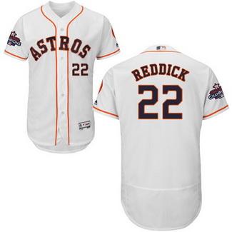 Men's Houston Astros #22 Josh Reddick White 2017 World Series Champions Stitched Flexbase Jersey