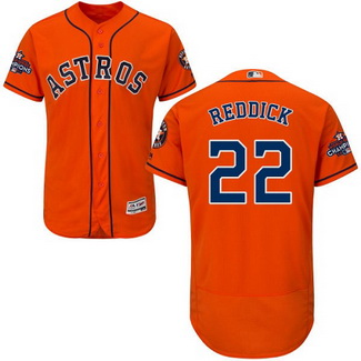 Men's Houston Astros #22 Josh Reddick Orange 2017 World Series Champions Stitched MLB Flexbase Jersey