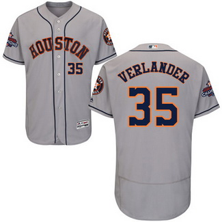 Men's Houston Astros #35 Justin Verlander Grey 2017 World Series Champions Stitched Flexbase Jersey
