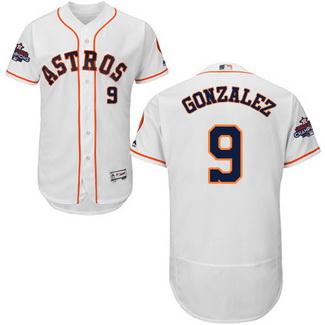 Men's Houston Astros #9 Marwin Gonzalez White 2017 World Series Champions Stitched Flexbase Jersey