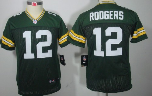 Nike Green Bay Packers #12 Aaron Rodgers Green Limited Kids Jersey