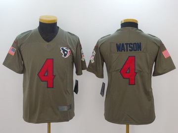 Nike Texans 4 Deshaun Watson Olive Youth Salute To Service Limited Jersey