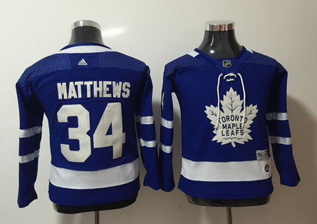 Youth Adidas Maple Leafs 34 Auston Matthews Blue Jersey