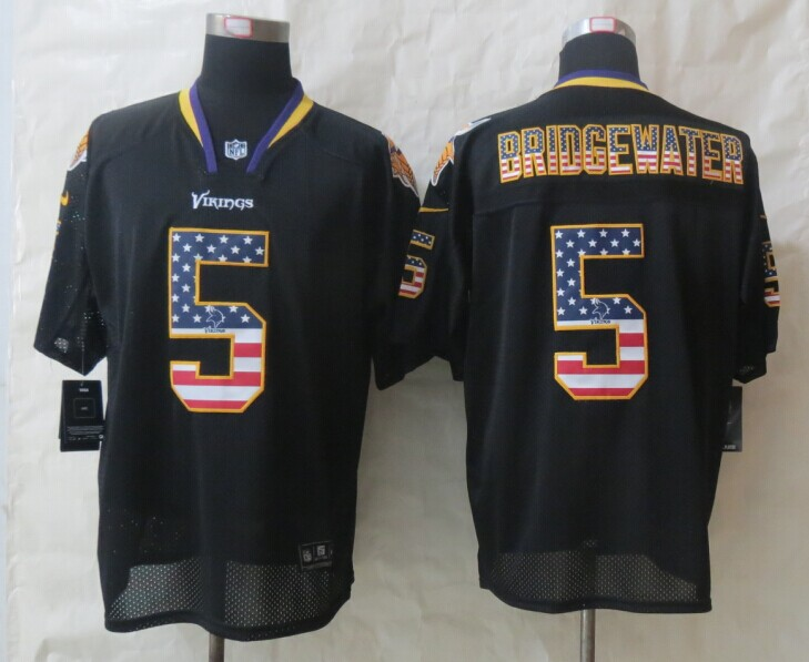 Nike Vikings #5 Bridgewater USA Flag Fashion Black Elite Jerseys