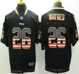 Men's Minnesota Vikings #26 Trae Waynes Black USA Flag Fashion NFL Nike Elite Jersey