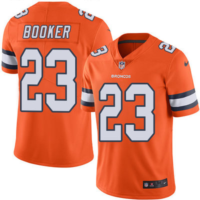 Youth Nike Broncos #23 Devontae Booker Orange Stitched NFL Limited Rush Jersey