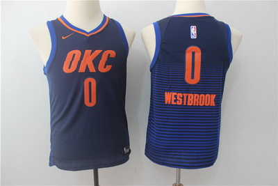 Thunder 0 Russell Westbrook Navy Youth Nike Swingman Jersey
