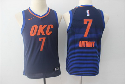 Thunder 7 Carmelo Anthony Navy Youth Nike Swingman Jersey