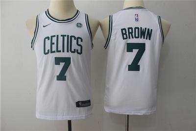 Celtics 7 Jaylen Brown White Youth Nike Swingman Jersey
