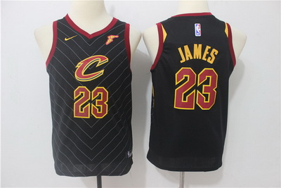 Cavaliers 23 LeBron James Black Youth Nike Swingman Jersey