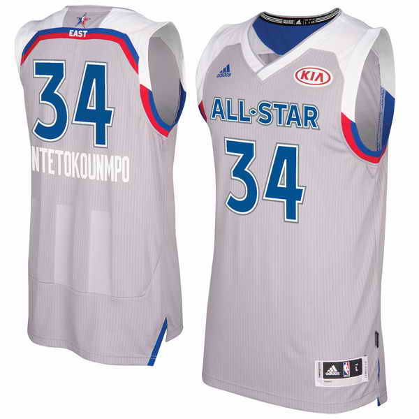 Men's Eastern Conference #34 Giannis Antetokounmpo adidas Gray 2017 NBA All-Star Game Swingman Jersey