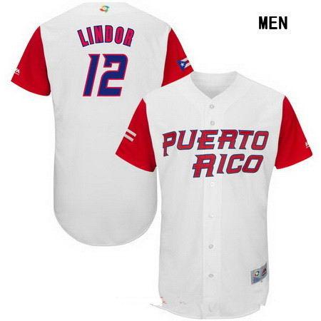 Men's Stitched Dominican Republic Baseball #12 Francisco Lindor Majestic White 2017 World Baseball Classic Authentic Jersey