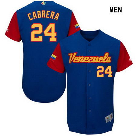 Men's Stitched Venezuela Baseball #24 Miguel Cabrera Majestic Royal 2017 World Baseball Classic Authentic Jersey