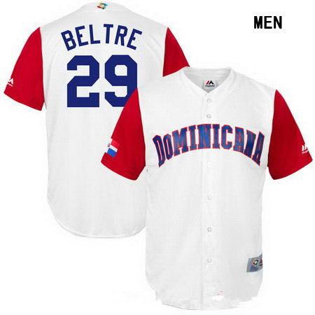 Men's Stitched Dominican Republic Baseball #29 Adrian Beltre Majestic White 2017 World Baseball Classic Replica Jersey