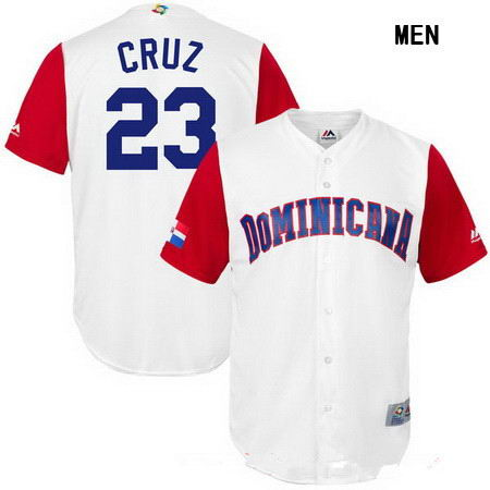 Men's Stitched Dominican Republic Baseball 23 Nelson Cruz Majestic White 2017 World Baseball Classic Replica Jersey