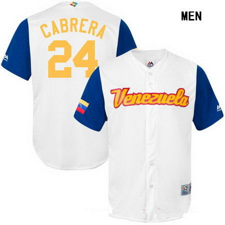 Men's Stitched Venezuela Baseball #24 Miguel Cabrera Majestic White 2017 World Baseball Classic Stitched Replica Jersey