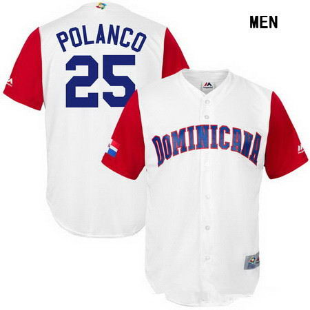 Men's Stitched Dominican Republic Baseball #25 Gregory Polanco Majestic White 2017 World Baseball Classic Replica Jersey