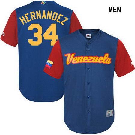 Men's Stitched Venezuela Baseball #34 Felix Hernandez Majestic Royal 2017 World Baseball Classic Stitched Replica Jersey