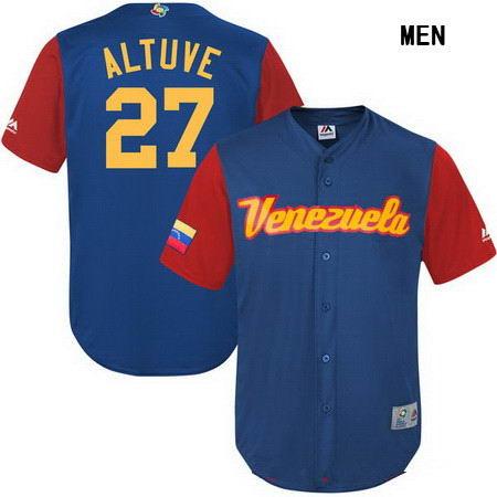 Men's Stitched Venezuela Baseball #27 Jose Altuve Majestic Blue 2017 World Baseball Classic Stitched Replica Jersey
