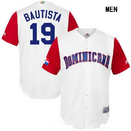 Men's Stitched Dominican Republic Baseball #19 Jose Bautista Majestic White 2017 World Baseball Classic Replica Jersey