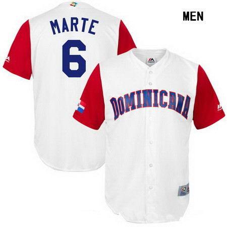Men's Stitched Dominican Republic Baseball #6 Starling Marte Majestic White 2017 World Baseball Classic Replica Jersey