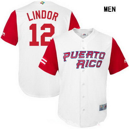 Men's Stitched Puerto Rico Baseball #12 Francisco Lindor Majestic White 2017 World Baseball Classic Replica Jersey