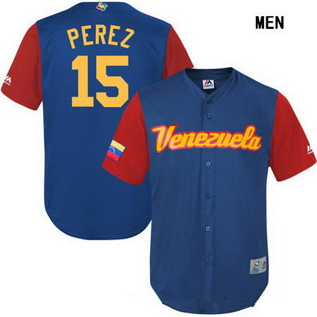 Men's Stitched Venezuela Baseball #15 Salvador Perez Majestic Royal 2017 World Baseball Classic Stitched Replica Jersey